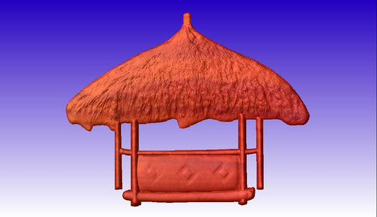 Tiki Hut Vector Relief Model -  3D CNC Vector Art