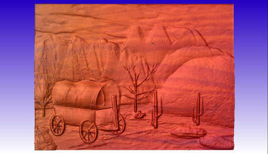Covered Wagon Scene Vector Relief Model -  3D CNC Vector Art