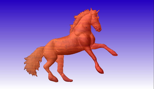 Horse Rearing Up Vector Relief Model -  3D CNC Vector Art