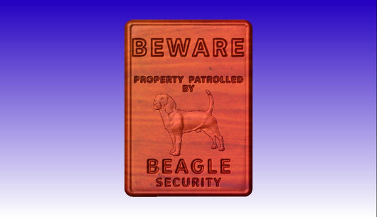 Beware of Beagle Sign -  3D CNC Vector Art