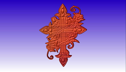 Decorated Cross 3D Vector Art -  3D CNC Vector Art