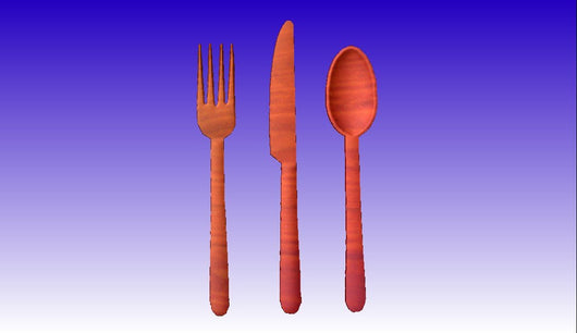 Fork and Spoon 3D Vector Relief Model -  3D CNC Vector Art