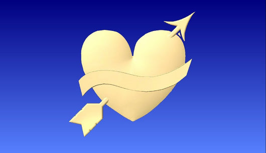 Heart With Arrow Through It 3D Vector Relief Model -  3D CNC Vector Art