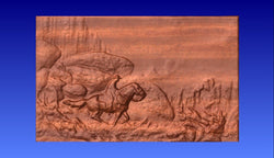 Horseback Rider Western Themed Vector Relief Model -  3D CNC Vector Art