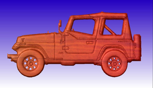 Jeep CNC Vector Art Relief Model -  3D CNC Vector Art