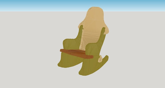 No Glue or Screw Rocking Chair -  3D CNC Vector Art