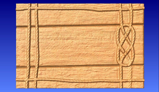 Roped on Wood Vector Relief Model -  3D CNC Vector Art
