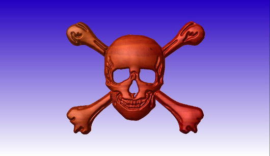 Skull and Bones 3D Vector Relief Model -  3D CNC Vector Art