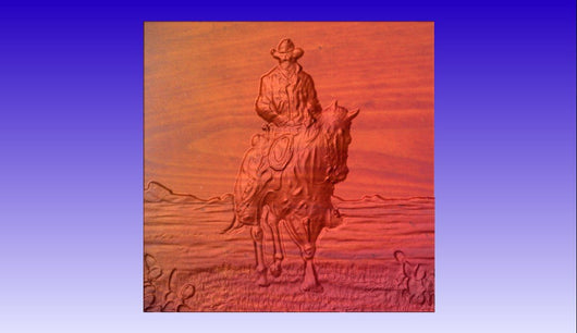 Cowboy on a Horse Vector Relief Model -  3D CNC Vector Art
