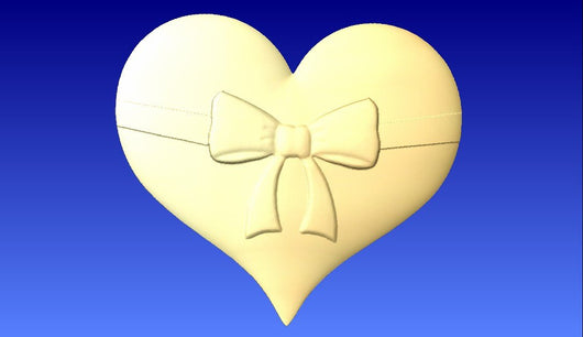 Heart with bow on it 3D Vector Model -  3D CNC Vector Art