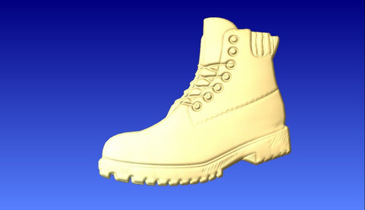 Work Boot Vector Relief Model -  3D CNC Vector Art