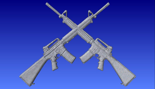 Crossed M16 or AR-15 Rifles  Vector Relief Model -  3D CNC Vector Art