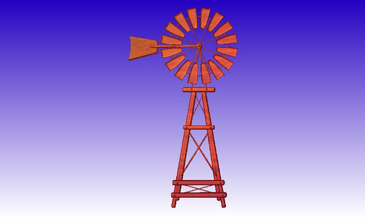 Windmill Vector Relief Model -  3D CNC Vector Art