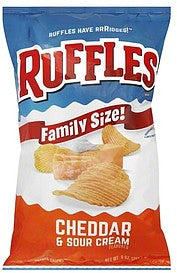 Ruffles Potato Chips Cheddar & Sour Cream Flavored, Family Size!, 9 oz