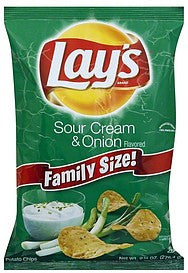 Lays Potato Chips Sour Cream & Onion Flavored, Family Size!, 9.75 oz