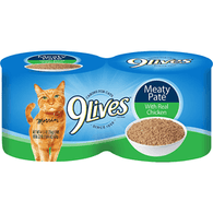 9 Lives Cat Food, with Real Chicken, Meaty Pate