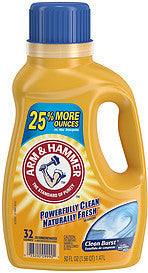 Arm & Hammer Liquid Laundry Detergent 2X Concentrated Clean Burst, 50.0 Fl Oz