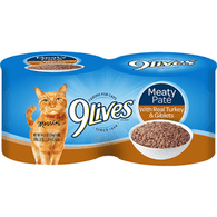 9 Lives Cat Food, with Real Turkey & Giblets, Meaty Pate