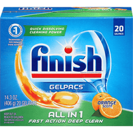 Finish Gelpacs All in 1 Orange Scent Automatic Dishwasher Detergent