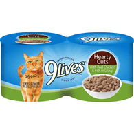 9 Lives Cat Food, with Real Chicken & Fish in Gravy, Hearty Cuts