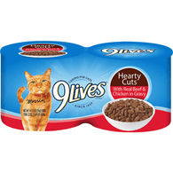 9 Lives Cat Food, with Real Beef & Chicken in Gravy, Hearty Cuts