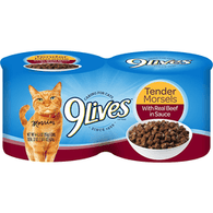 9 Lives Cat Food, with Real Beef in Sauce, Tender Morsels