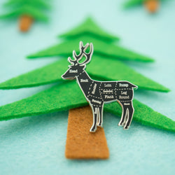 Silver Deer (Venison) Butcher Cuts Diagram Hard Enamel Lapel Pin