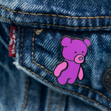 Pink Teddy Bear Enamel Pin on Jean Jacket