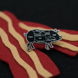 Silver Pig Butcher Cuts Enamel Pin with Felt Bacon