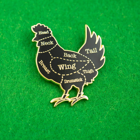 Chicken Butcher Cuts Diagram Hard Enamel Lapel Pin
