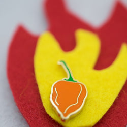 Habanero Enamel Pin on Felt Fire