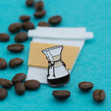 Pour Over Glass Coffee Maker Enamel Pin with Felt and coffee beans
