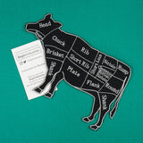 Large Black and Gray Cow Butcher Cuts Diagram Embroidered Iron-on Patch