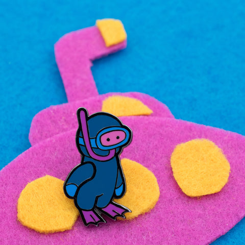 Scuba man Dan Hard Enamel Pin (Begin Industries x Ken Ives)