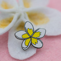 White and Yellow Plumeria Tropical Hawaiian Lei Flower Hard Enamel Pin