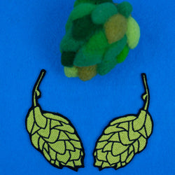 Beer Hops Mirror Image Embroidered Iron-on Patch Set
