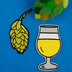 Beer Hops and Tulip Beer Glass Embroidered Iron-on Patch Set (Two Patches)