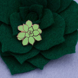 Succulent Enamel Pin on Dark Green Felt Succulent Craft