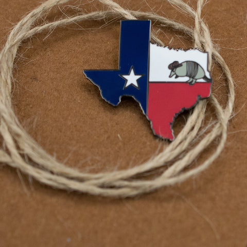 Texas Enamel Pin with Armadillo in Cowboy hat