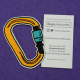 Carabiner Embroidered Iron-on Patch in Orange