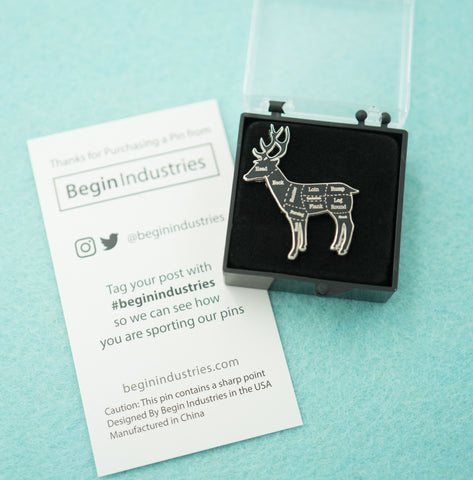 Excellent Silver Deer Venison Butcher Cuts Diagram Hard Enamel Lapel Pin Wiring Digital Resources Hetepmognl