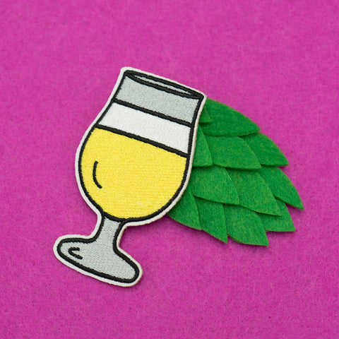 Craft Beer Tulip Glass Embroidered Iron-on Patch