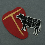 Cow Butcher Cuts Diagram Embroidered Iron-on Patch