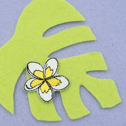 White and Yellow Plumeria Tropical Hawaiian Lei Flower Embroidered Iron-on Patch