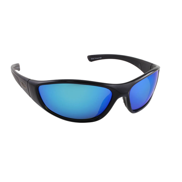 Sea Striker Pursuit Sunglasses - 0239 - Black Frame / Blue Mirror Lens