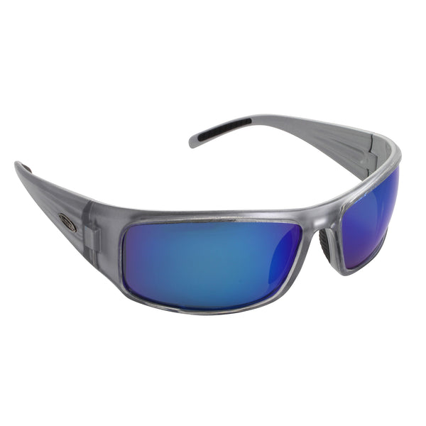 Sea Striker Thresher Sunglasses - 0271 - Crystal Silver Frame / Blue Mirror Lens