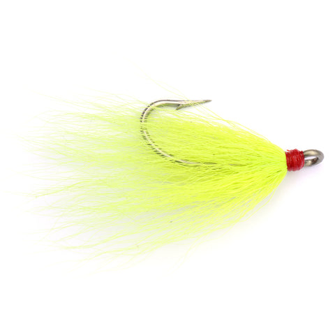Dressed Hook 2/0 Chartreuse Bucktail - 2pk