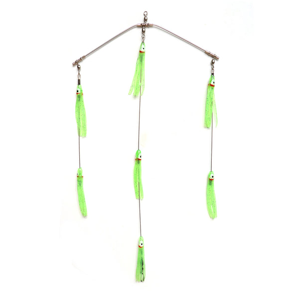 "Clarkspoon 8"" Mini Spreader Bar - Rigged w/ Chartreuse Glow Skirts and 0-RBMS Clarkspoon - Clarkspoon Fishing Lures"