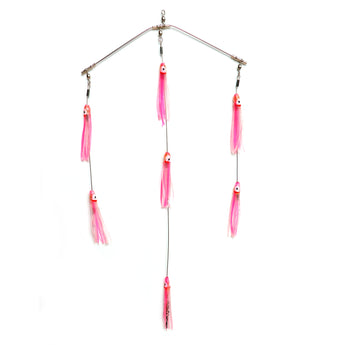 "Clarkspoon 8"" Mini Spreader Bar - Rigged w/ Pink Skirts and 0-RBMS Clarkspoon - Clarkspoon Fishing Lures"