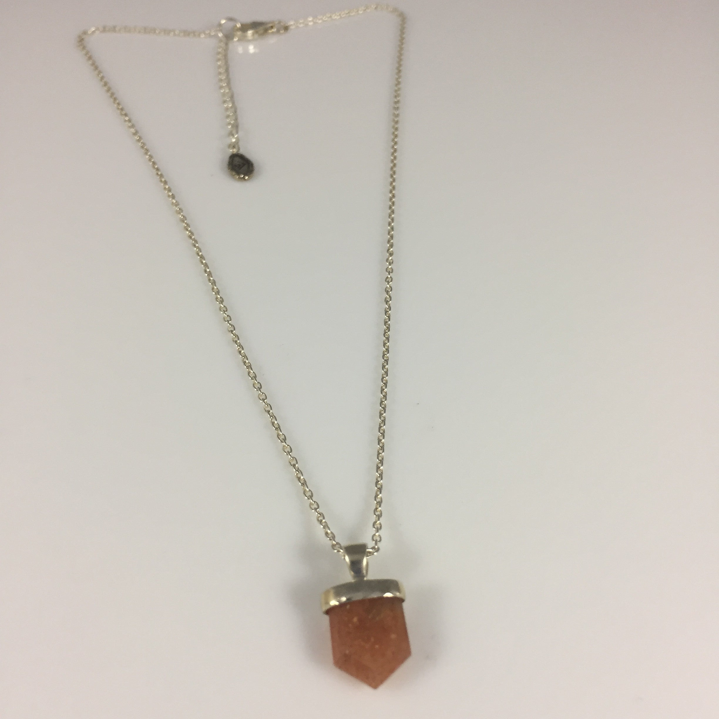 jewelry store product handmade that gemstone filled pendant sunstone necklace goldfilled stone length collarbone sunshine gold